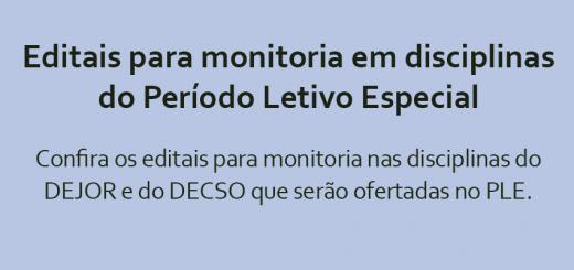 Edital de monitoria PLE
